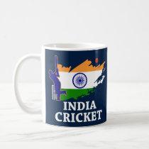 India Cricket  With Indian Flag Brush Stroke Coffee Mug
