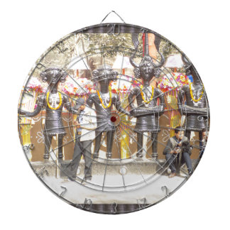 India cultural show statue of musicians artists dartboards