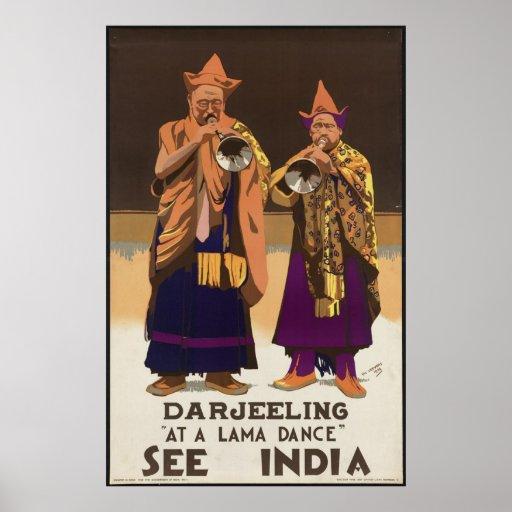 India Darjeeling Vintage Travel Poster Ad Retro