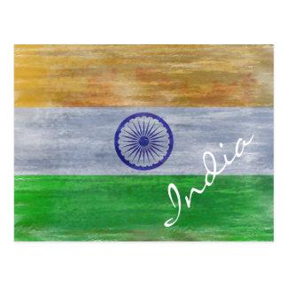 India distressed Indian flag Postcard