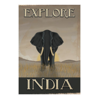 India elephant vintage travel poster