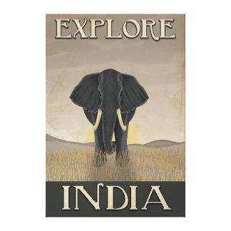 India elephant vintage travel poster canvas print