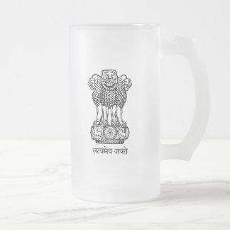 india emblem frosted glass beer mug