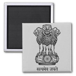 india emblem 2 inch square magnet
