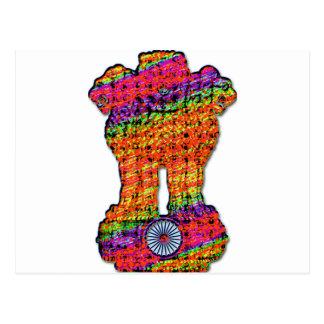 India Emblem Psychedelic Postcard