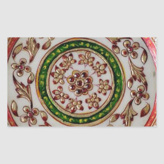 iNDIA Ethnic Decoration Art - ROUND GoodLuck Art Rectangular Sticker