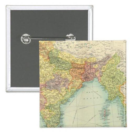 India & Farther India political 2 Inch Square Button