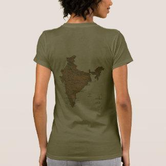 India Flag and Map dk T-Shirt T-shirt