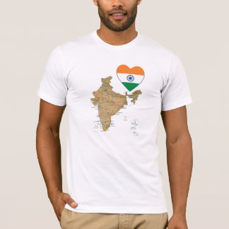 India Flag Heart and Map T-Shirt
