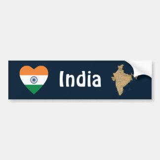 India Flag Heart + Map Bumper Sticker Car Bumper Sticker