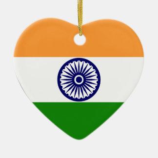 India Flag Heart Christmas Tree Ornaments