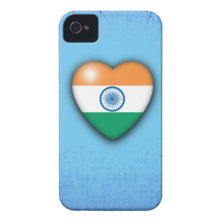 India Flag Heart pale blue background Blackberry Case-Mate iPhone 4 Case