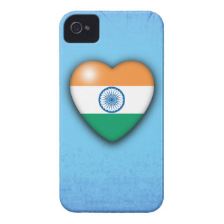 India Flag Heart pale blue background iphone Case-Mate iPhone 4 Cases