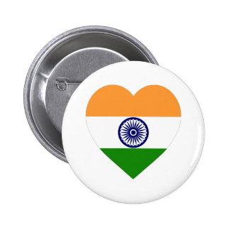 India Flag Heart Pinback Button