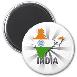 India Flag Map 2.0 2 Inch Round Magnet