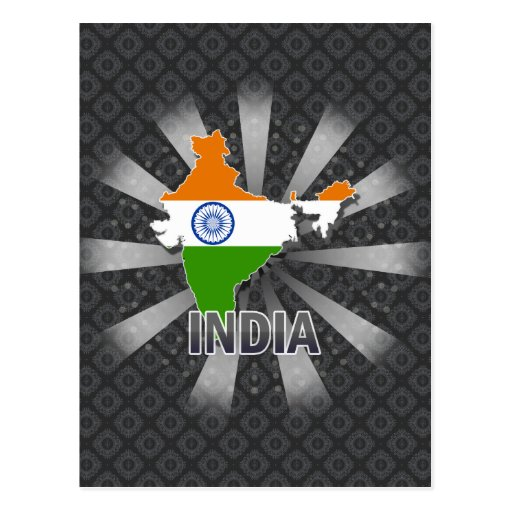 India Flag Map 2.0 Postcards