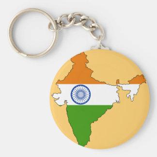 India flag map basic round button keychain