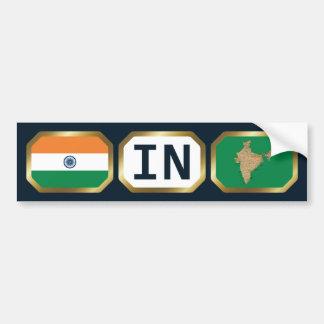 India Flag Map Code Bumper Sticker