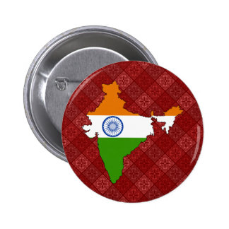 India Flag Map full size Pinback Button