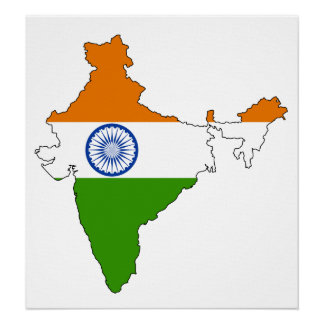 India Flag Map full size Poster