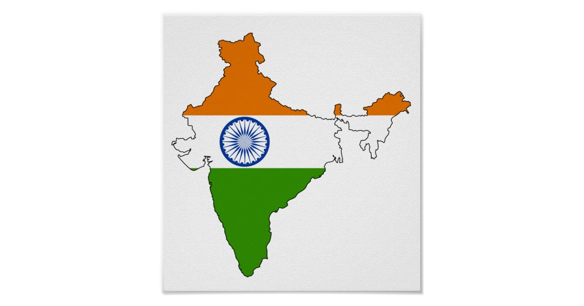 India Flag Map: India Flag Map Full Size Poster