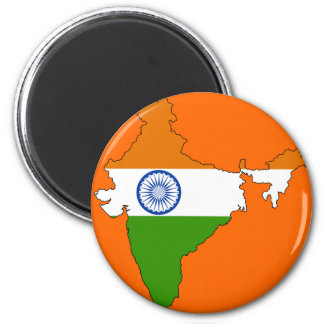 India flag map 2 inch round magnet