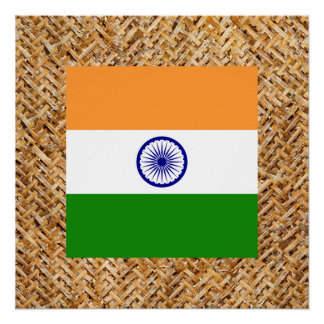 India Flag on Textile themed Poster
