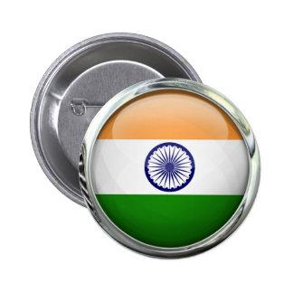 India Flag Round Glass Ball Button