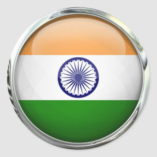 India Flag Round Glass Ball Classic Round Sticker