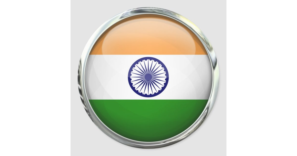 Indian Flag With Different Views: India Flag Round Glass Ball Classic Round Sticker