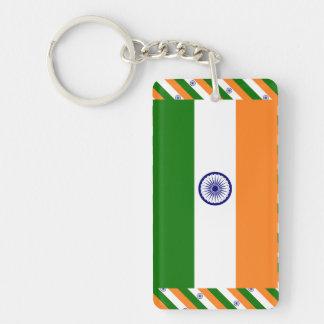 India Flag Single-Sided Rectangular Acrylic Keychain