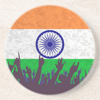 India Flag with Audience Drink Coaster