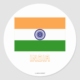 India Flag with Name Classic Round Sticker