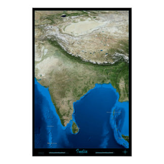 India from space satellite poster