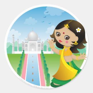 India girl classic round sticker