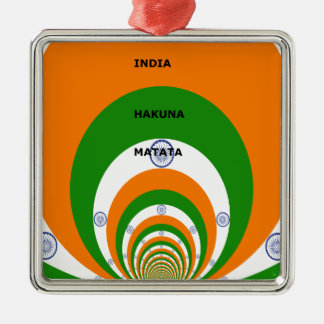 India HAKUNA MATATA Square Metal Christmas Ornament
