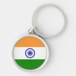India; Indian Flag Silver-Colored Round Keychain