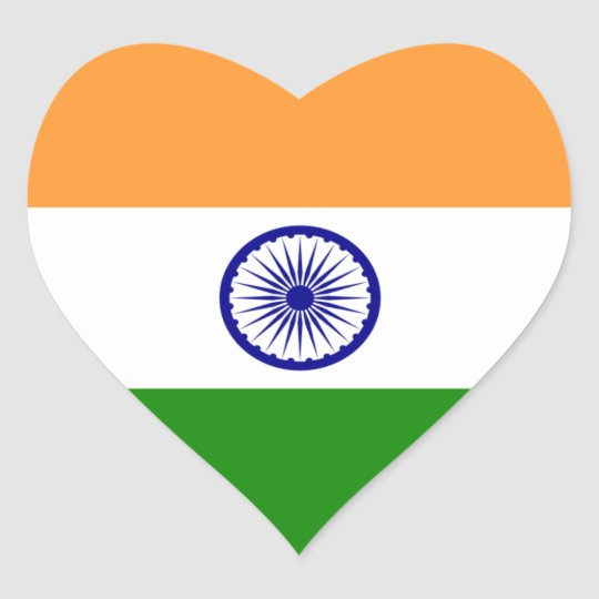 India indian heart flag heart sticker