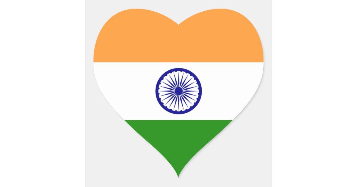 India Indian Heart Flag Heart Sticker Zazzle Com