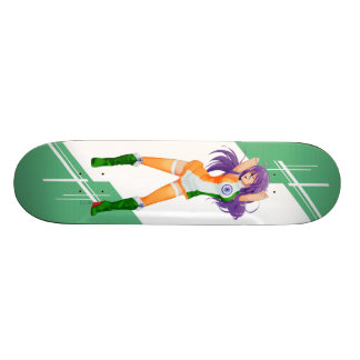 India Manga girl dressed in Flag - Indian Skateboard Deck