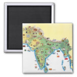 India, map with illustrations showing 2 inch square magnet