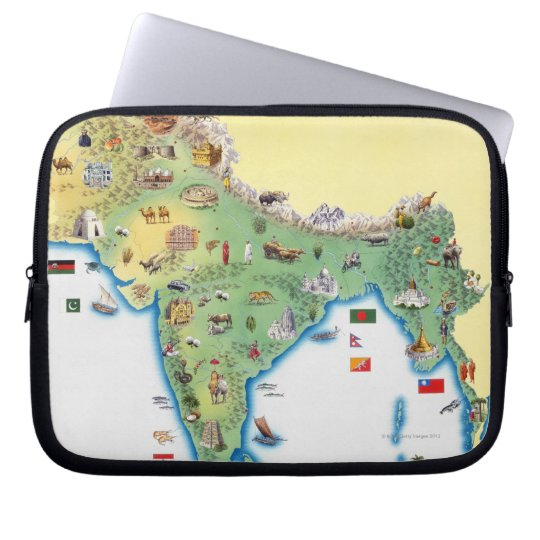 India, map with illustrations showing computer sleeve