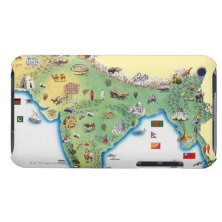 India, map with illustrations showing iPod touch case