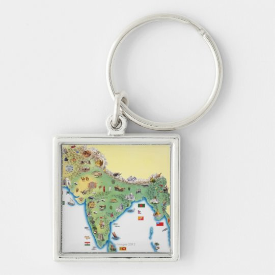 India, map with illustrations showing keychain