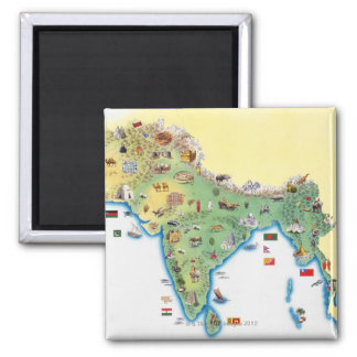 India, map with illustrations showing magnet