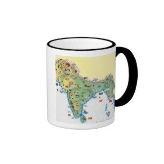 India map with illustrations showing mug
