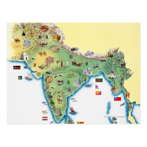 India, map with illustrations showing post cards