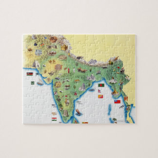 India, map with illustrations showing puzzle