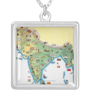 India, map with illustrations showing square pendant necklace