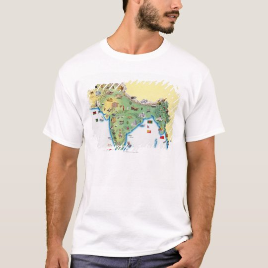 India, map with illustrations showing T-Shirt